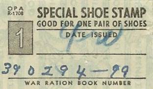 War Rationing Shoe Stamp