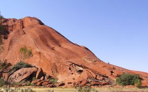 """Ayers Rock - Kuniya walk (Rock climbing)"". Licensed under Public Domain via Wikimedia Commons"